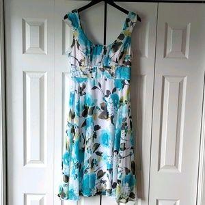 Dress Barn floral A-Line chiffon midi dress sz 12